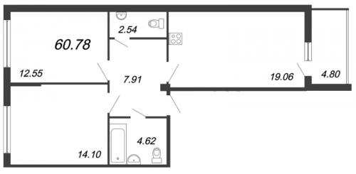 3-комнатная квартира на продажу (60,8 м<sup>2</sup>)