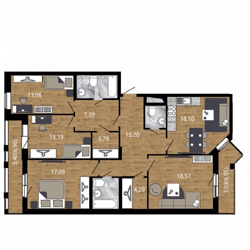 4-комнатная квартира на продажу (129,4 м<sup>2</sup>)