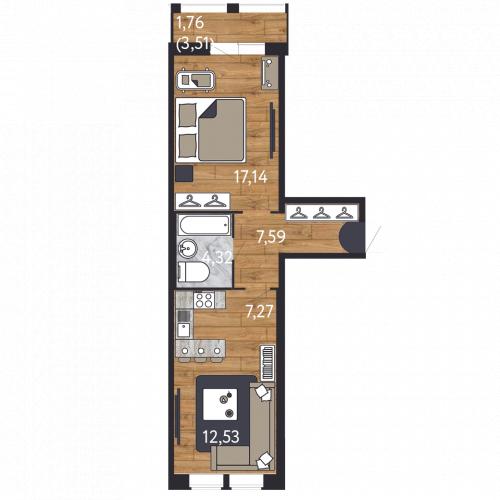 2-комнатная квартира на продажу (50,6 м<sup>2</sup>)