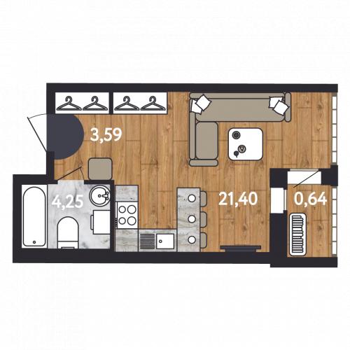 1-комнатная квартира на продажу (29,9 м<sup>2</sup>)