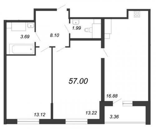 3-комнатная квартира на продажу (57,0 м<sup>2</sup>)