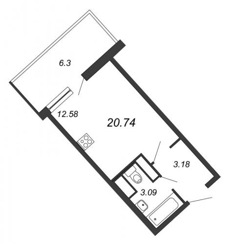 1-комнатная квартира на продажу (20,7 м<sup>2</sup>)