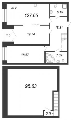2-комнатная квартира на продажу (125,5 м<sup>2</sup>)
