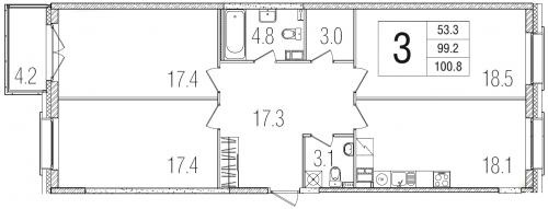 3-комнатная квартира на продажу (100,8 м<sup>2</sup>)