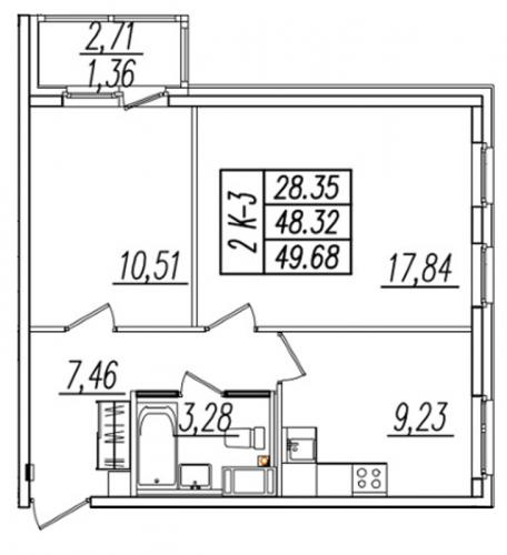 2-комнатная квартира на продажу (50,7 м<sup>2</sup>)