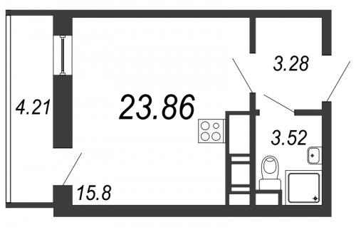 Студия на продажу (25,1 м<sup>2</sup>)