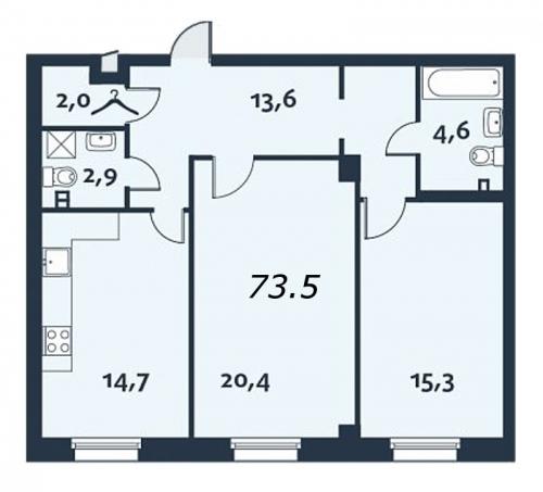 2-комнатная квартира на продажу (73,8 м<sup>2</sup>)