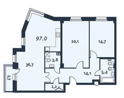 3-комнатная квартира на продажу (97,0 м<sup>2</sup>)