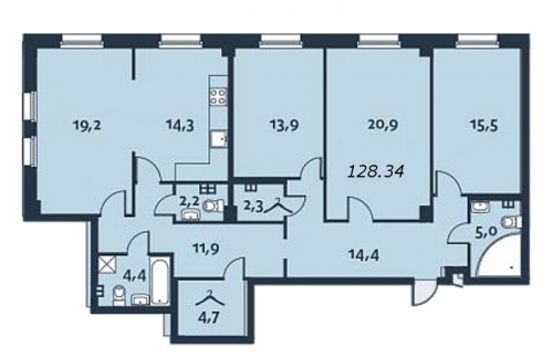 4-комнатная квартира на продажу (128,6 м<sup>2</sup>)