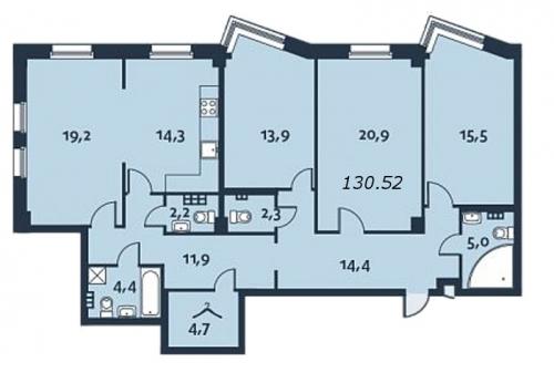 4-комнатная квартира на продажу (131,7 м<sup>2</sup>)