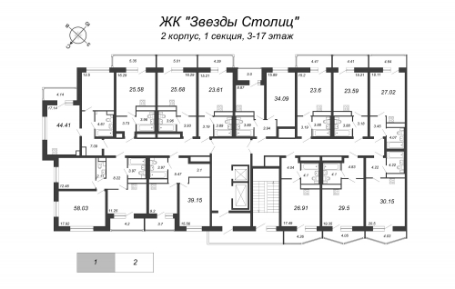 1-комнатная квартира на продажу (34,1 м<sup>2</sup>)