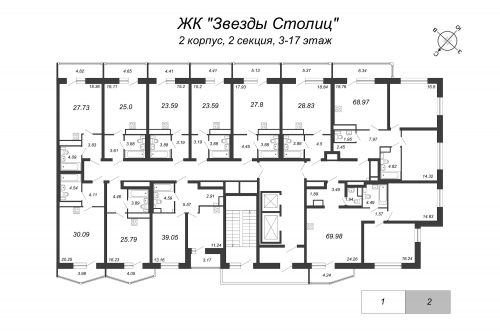 3-комнатная квартира на продажу (69,0 м<sup>2</sup>)