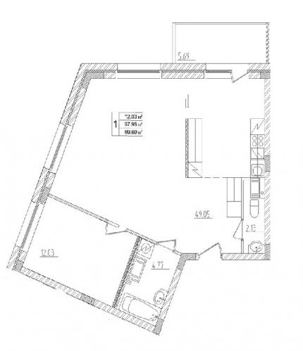 1-комнатная квартира на продажу (69,7 м<sup>2</sup>)