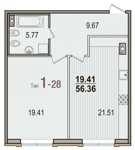 1-комнатная квартира на продажу (56,4 м<sup>2</sup>)