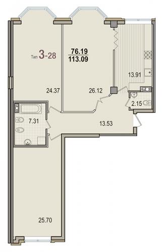 3-комнатная квартира на продажу (113,1 м<sup>2</sup>)