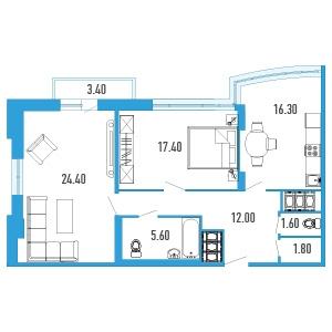 2-комнатная квартира на продажу (80,0 м<sup>2</sup>)