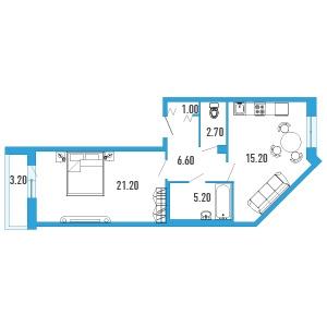 1-комнатная квартира на продажу (53,0 м<sup>2</sup>)