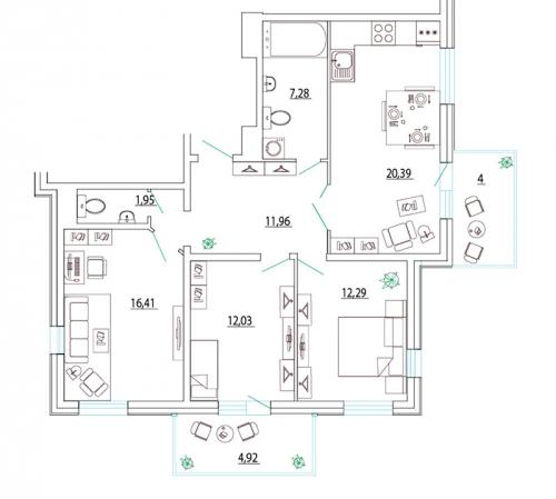 3-комнатная квартира на продажу (86,8 м<sup>2</sup>)