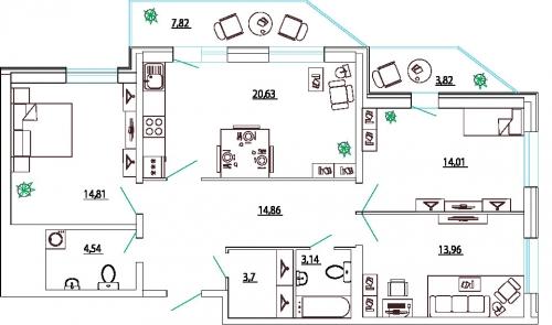 3-комнатная квартира на продажу (95,5 м<sup>2</sup>)