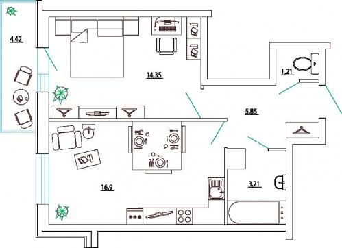 1-комнатная квартира на продажу (44,5 м<sup>2</sup>)
