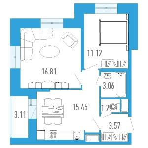 2-комнатная квартира на продажу (52,0 м<sup>2</sup>)