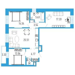 3-комнатная квартира на продажу (88,0 м<sup>2</sup>)