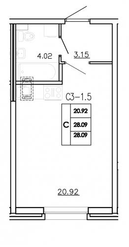 1-комнатная квартира на продажу (28,1 м<sup>2</sup>)
