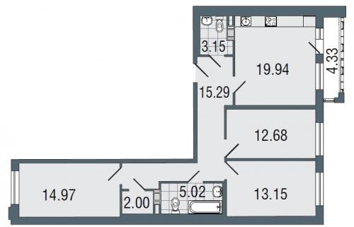 3-комнатная квартира на продажу (86,0 м<sup>2</sup>)