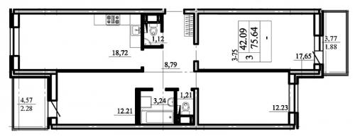3-комнатная квартира на продажу (79,8 м<sup>2</sup>)