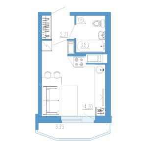 1-комнатная квартира на продажу (21,0 м<sup>2</sup>)