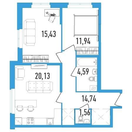 2-комнатная квартира на продажу (68,0 м<sup>2</sup>)
