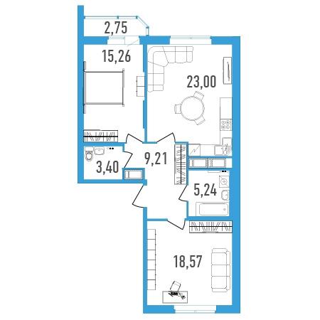 2-комнатная квартира на продажу (76,0 м<sup>2</sup>)