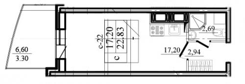 1-комнатная квартира на продажу (26,1 м<sup>2</sup>)