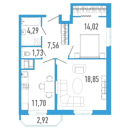 2-комнатная квартира на продажу (59,0 м<sup>2</sup>)