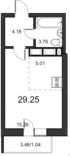 1-комнатная квартира на продажу (29,3 м<sup>2</sup>)