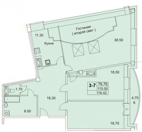 4-комнатная квартира на продажу (116,8 м<sup>2</sup>)