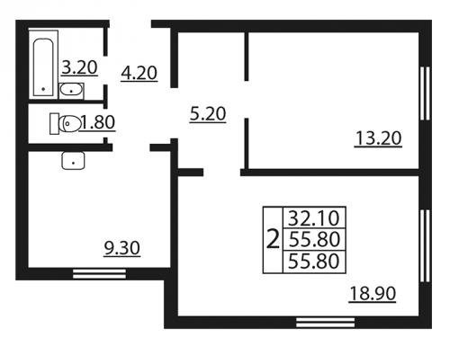 2-комнатная квартира на продажу (55,8 м<sup>2</sup>)