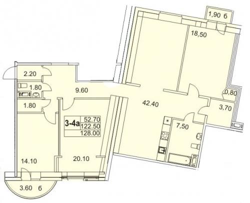 3-комнатная квартира на продажу (127,1 м<sup>2</sup>)