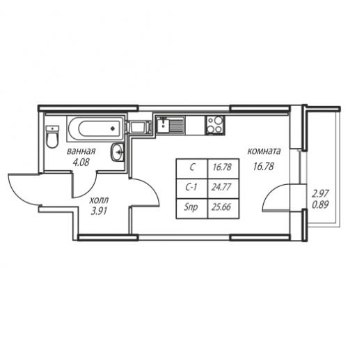 1-комнатная квартира на продажу (25,7 м<sup>2</sup>)