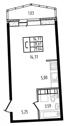 1-комнатная квартира на продажу (29,6 м<sup>2</sup>)