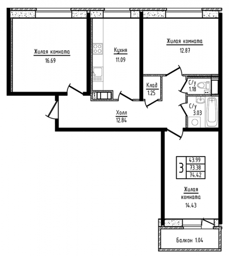 3-комнатная квартира на продажу (74,4 м<sup>2</sup>)