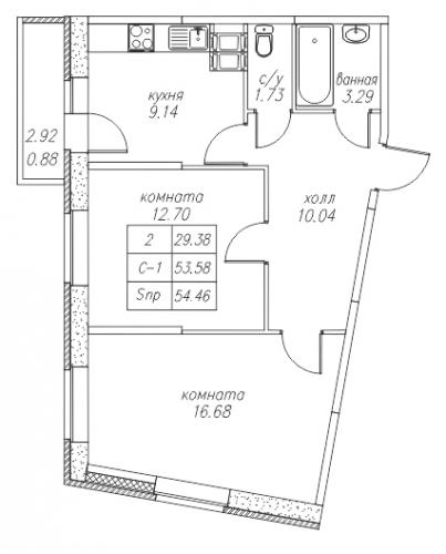 2-комнатная квартира на продажу (54,5 м<sup>2</sup>)