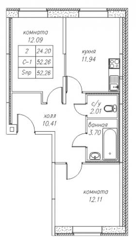 2-комнатная квартира на продажу (52,3 м<sup>2</sup>)