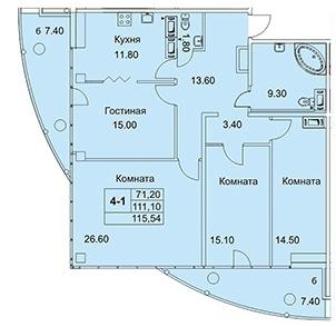 4-комнатная квартира на продажу (115,5 м<sup>2</sup>)