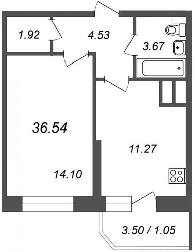 1-комнатная квартира на продажу (36,5 м<sup>2</sup>)