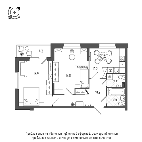 2-комнатная квартира на продажу (60,5 м<sup>2</sup>)