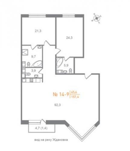 2-комнатная квартира на продажу (160,1 м<sup>2</sup>)