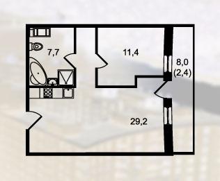 1-комнатная квартира на продажу (56,3 м<sup>2</sup>)