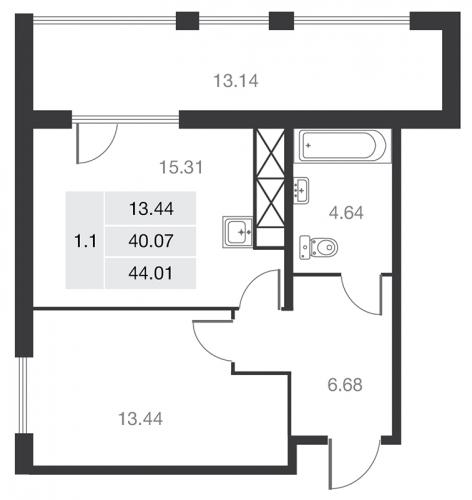 1-комнатная квартира на продажу (44,9 м<sup>2</sup>)