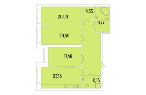 3-комнатная квартира на продажу (127,4 м<sup>2</sup>)